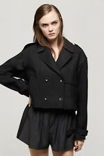 Rag & Bone Marshall Cropped Trench Breasted Trench Coat Lined Raw Edge Black