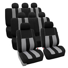 Gray Black 3Row SUV Split bench Car Seat Covers Full Set Car Auto