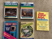 RARE! HTF LOT(4) Mattel Intellivision FROGGER,DONKEY KONG,ATLANTIS,DEMON ATTACK