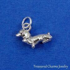 Silver DACHSHUND DOG CHARM Daschund Doxen Weiner Dog 3D PENDANT *NEW*