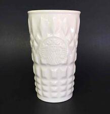 "Starbucks Ceramic Mug 2014 White Textured Glass Travel Coffee Cup 6"" Tall"