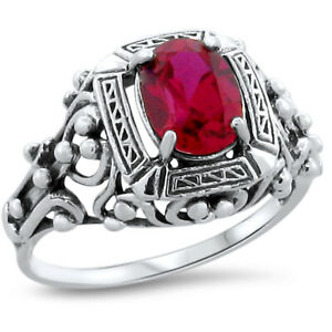 ANTIQUE VICTORIAN STYLE RED LAB RUBY .925 STERLING SILVER RING,             #211