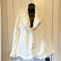Damselle NY Womens Size Medium Faux Fur White Ivory Teddy Coat Open Front Plush