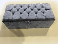 LARGE SLATE GREY CRUSHED VELVET OTTOMAN, TOYS STORAGE FOOTSTOOL, BLANKET BOX