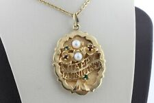 Vintage 14K Yellow Gold Happy Anniversary Garnet Emerald and Pearl Charm Pendant