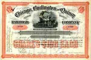 1892 Chicago Burlington & Quincy RR Stock Certificate