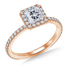 14K Real Rose Gold Rings 1.00 Ct VVS1 Diamond Engagement Ring Size J K L M N