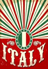 "Reproduction Vintage Italian ""Italy"" Poster, Home Wall Art, Size: A2"