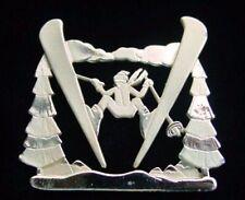 Vintage SKIING SKI JUMPER Figural Brooch~Goldtone Winter Sport PIN,fjt