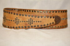 "Handmade Brown Leather ""Studded"" Cowboy/Western Belt Womens Size 40""-B119"