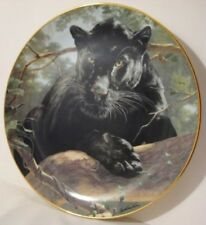 Old Porcelain Franklin Mint Black Panther Cat Collector Plate Nat'l Wildlife Fed