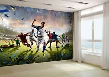Soccer Players in Action on Stadium Wallpaper Mural Photo 60366674 premium paper