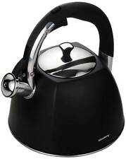 Whistling Kettle 3 L Stainless Steel  Silver Black Mat   EASY OPEN Induction