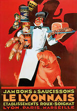 Sausages Ham French Deco Kitchen Poster Print