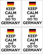 KEEP CALM AND GO TO GERMANY - German / Europe/ Fun x 4 VINYL STICKERS 14cm x 9cm