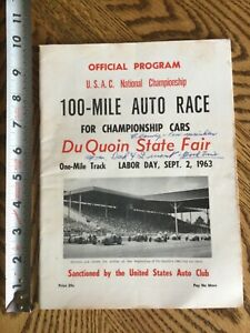 "1963 USAC ""100 MILE AUTO RACE"" OFFICIAL PROGRAM WITH (19) AUTOS A.J. Foyt + More"
