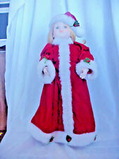 """15 """" PORCELAIN  DRESSED FOR CHRISTMAS DOLL RED COAT TOSSEL CAP WHITE TRIM HOLLY"""