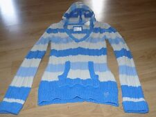 Girl's Size 18 Justice Blue White Striped Hooded Pullover Sweater New