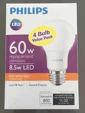 Philips 60W Equivalent Soft White A19 LED Light Bulb  (4-Pack) 3YR Warranty NIB!