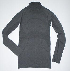 LULULEMON Long Sleeve Tech T-Shirt RUN SWIFTLY Thumb Holes Turtleneck GRAY Sz 4