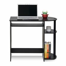 Black WoodenHome Office Desk Computer Table Workstation with 3 Shelves