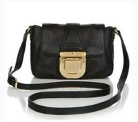 MICHAEL KORS Charlton Small Crossbody Bag Black Leather Gold Buckle Lock Flap MK