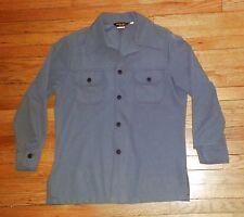 John Blair Button Shirt Vintage L Solid Gray Polyester Heavy h054