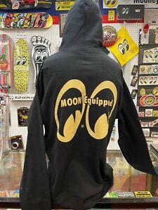 Mooneyes fleece hoodie pull over style black size M rear logo print hot rod