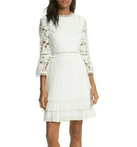Ted Baker Stefoni Lace Bodice Pleated Tiered Bride Dress in Natural Size 2, US 6