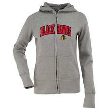 NEW Antigua Women's Chicago Blackhawks Hood Applique Full-Zip Sweatshirt - S