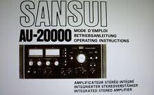 SANSUI au-20000 INT ST AMP Bedienungsanleitung inkl. Conn DIAGS eng Franken Regionalligen