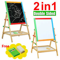 KIDS WOODEN 2 IN 1 BLACKBOARD & WHITEBOARD CHILDRENS EASEL CHALK DRAWING BOARD