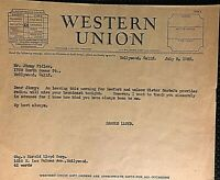 HAROLD LLOYD VERY RARE ORIGINAL 1938 WESTERN UNION TELEGRAM!!!!!