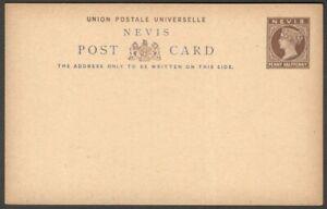 Nevis QV Queen Victoria 1 1/2d brown postal card unused