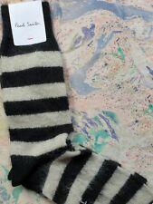 Paul Smith Mens Italian Socks Wool Mohair Stripe Thick Black Grey K767 One Size