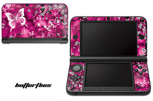 Skin Decal Wrap for Nintendo 3DS XL Gaming Handheld Sticker 12-15 BUTTERFLY PINK