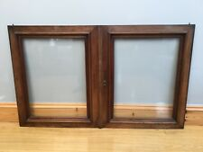 Antique 19th Century Oak Glazed Cupboard Doors X 2 Old Architectural Reclaimed