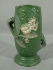 Decorative vase planter floral design staggered handles bottom stamped Roseville