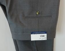 38 S x 36 Sansabelt Pants Gray 65% Polyester & 35 % Wool New Unhemmed
