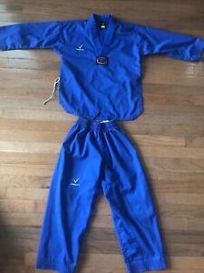 Vision Taekwondo High Performance Martial Arts 2 Pc Uniform Set BLUE Sz 0/140