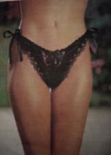 Shirley of Hollywood O/S Crotchless Ties Beads Lace Pantie Panty BLACK 40% OFF!!