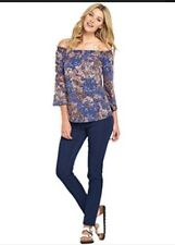 BNWT Multi 'SOUTH' Stretch Jersey Cold Shoulder Long Tunic Gypsy Top SIZE 16-18