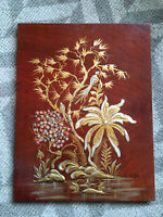 Vtg Mid Century Chinese/Asian Chinoiserie Flower Textured Painting On Wood