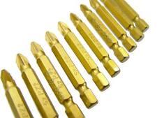 10pc titane enduit de silicone S2 Acier embouts tournevis 50mm de long