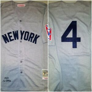 Retro NY Yankees Legend Lou Gehrig #4 Replica Size XL Throwback Baseball Jersey