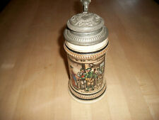 German 1/2L. Lidded Beer Stein # 1036 Woman Greeting Hunters Fancy Pewter Lid