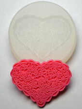 LACE  HEART - SILICONE FLEXIBLE PUSH MOLD POLYMER CLAY FIMO MOULD BAKEABLE