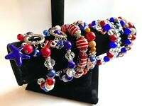 VOTE Patriotic Bracelet Lot 6 Glass Beaded Stretch Handmade Red White Blue