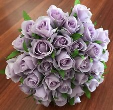 Silk Lavender Rose Roses Posy Wedding Flower Premade Bouquet Flowers 26 Heads