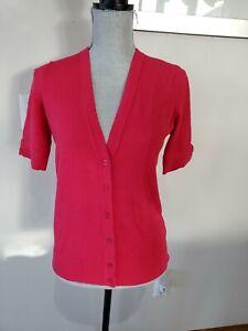 Ann Taylor Short Sleeve Button Pink Knit Cardigan Sz Small